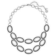 Dana Buchman Two Tone Oval Link Statement Necklace