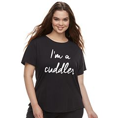 Juniors' Plus Size SO® Graphic Crewneck Pajama Tee