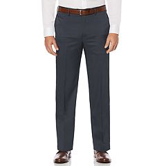Men's Savane Straight-Fit Crosshatch Stretch Flat-Front Dress Pants