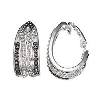 Dana Buchman Black Bead J-Hoop Clip-On Earrings