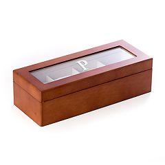 Bey-Berk Initial Monogrammed Four-Slot Watch Box
