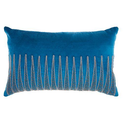 Inspire Me Home Decor Beaded Triangle Oblong Throw Pillow