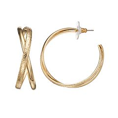 Dana Buchman Crisscross Hoop Earrings
