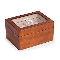 Bey-Berk Initial Monogrammed Two-Slot Watch Box