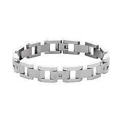 Stainless Steel Cubic Zirconia Link Bracelet