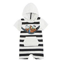 Baby Boy Hurley Graphic Hooded Romper