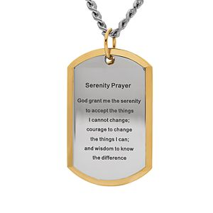 Stainless Steel Gold Tone Serenity Prayer Dogtag Pendant Necklace