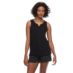 Women's Croft & Barrow® Gauze Tank & Shorts Pajama Set