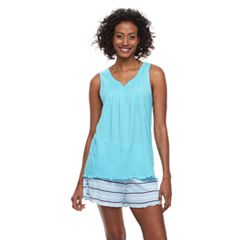 Women's Croft & Barrow® Gauze Tank & Shorts Pajama Set