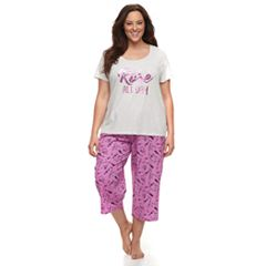 Plus Size Be Yourself Graphic tee & Capri Pajama Set