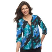 Women's Dana Buchman Lace-Trim Splitneck Top