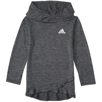 512fc57fd312 Girls 7-16 adidas Ruffled Space Dyed Melange Hoodie Sweatshirt