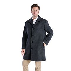 Men's Tower by London Fog Signature Label Wool-Blend Single-Breasted Top Coat