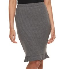 Juniors' Joe B Ruffle Ribbed Pencil Skirt