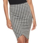 Juniors' Joe B Gingham Faux-Wrap Skirt
