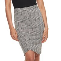 Juniors' Joe B Plaid Faux-Wrap Skirt