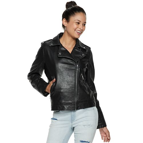 madden NYC Juniors' Faux-Leather Moto Jacket