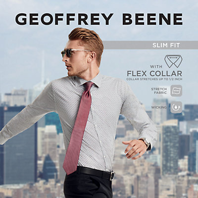 Men's Geoffrey Beene Slim-Fit Stretch Flex Point-Collar Dress Shirt
