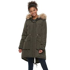 madden NYC Juniors' Faux-Fur Hood Anorak Jacket