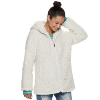 madden NYC Juniors' Hooded Zip-Up Sherpa Jacket
