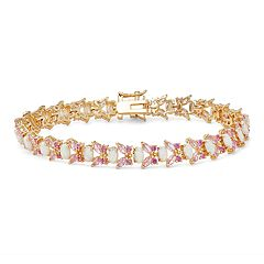 18k Gold Over Silver Lab-Crated Opal & Lab-Created Sapphire Butterfly Bracelet
