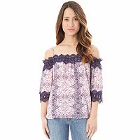 Juniors' IZ Byer Crochet Off-the-Shoulder Top