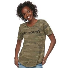 Juniors' Awake 'Not Today' Camo Graphic Tee