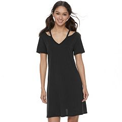 Juniors' Mudd® Cutout V-Neck Cupro Dress