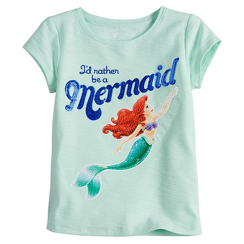"""Disney's Little Mermaid Toddler Girl Ariel """"I'd Rather Be A Mermaid"""" Tee by Jumping Beans®"""