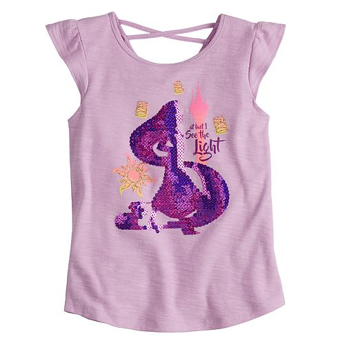 """Disney Princess Rapunzel Toddler Girl """"At Last I See The Light"""" Criss-Cross Back Tee by Jumping Beans®"""