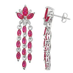 Sterling Silver Lab-Created Ruby Chandelier Earrings