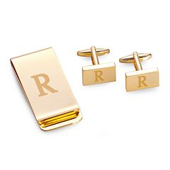 Bey-Berk Initial Monogrammed Money Clip and Cuff Link Set