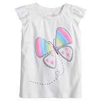 Toddler Girl Jumping Beans® Glittery Graphic Flutter Tee