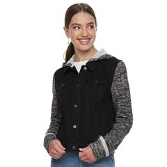 Juniors' Mudd® Hooded Knit Sleeve Jean Jacket