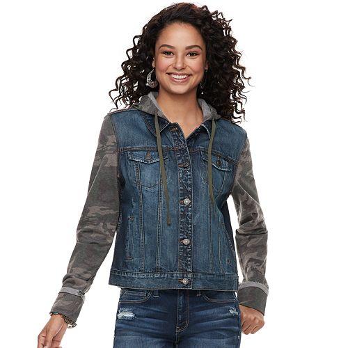 Juniors' Mudd® Hooded Knit Sleeve Jean Jacket