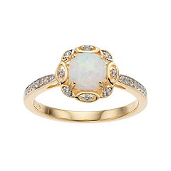 14k Gold Over Silver Lab-Created White Opal & Lab-Created White Sapphire Ring