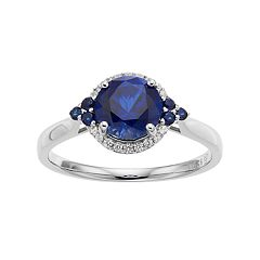 Sterling Silver Lab-Created Sapphire Halo Ring