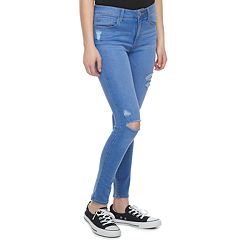 Juniors' SO® Ripped High-Waisted Ankle Jeggings