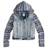 Girls 7-16 Mudd® Knit Sleeve Denim Jacket