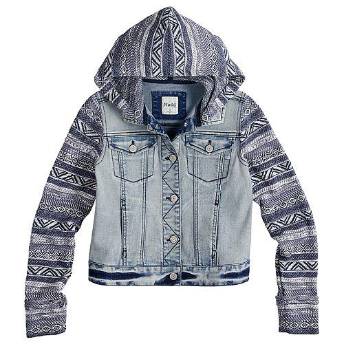 Girls 7-16 Mudd® Knit Sleeve Denim Jacket