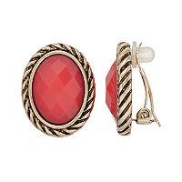 Dana Buchman Colorful Inlay Oval Clip-On Earrings