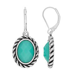 Dana Buchman Colorful Inlay Oval Drop Earrings
