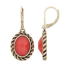 Dana Buchman Colorful Inlay Oval Drop Earrings