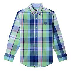 Boys 4-20 Chaps Plaid Stretch Button-Down Shirt