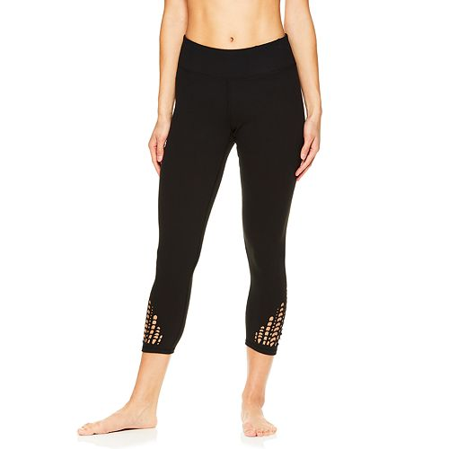 5966c14b5ba966 Women's Gaiam Lena Laser-Cut Yoga Midrise Capri Leggings