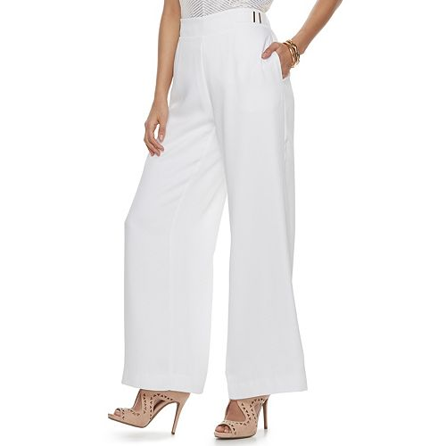 Women's Jennifer Lopez Midrise Wide-Leg Satin Dress Pants