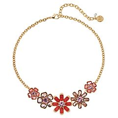 Dana Buchman Peach Floral Link Statement Necklace