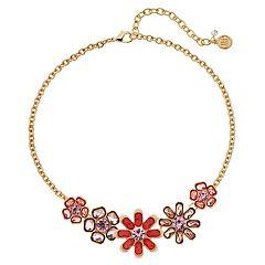 Dana Buchman Peach Floral Link Statement Necklace