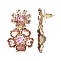 Dana Buchman Pink Flower Drop Earrings