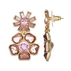 Dana Buchman Pink Flower Drop Earrings